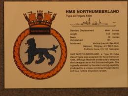 HMS NORTHUMBERLAND CREST CARD - Warships