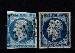 FRANCE - 1854 - YT N° 14A + 14Aa - Oblitérés - Napoléon III - 1853-1860 Napoleon III