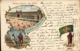 Lithographie Paris, Expo 1900, Palais Du Génie Civil, Brésil - France