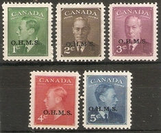 CANADA 1949 'O.H.M.S.'OFFICIALS SET SG O172/O176 MOUNTED MINT Cat £23 - Officials