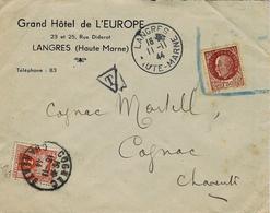 11-11-44 - Enveloppe De LANGRES , Utilisation Du N°517 Pétain Périmé Depuis 11 Jours Et TAXE 3f - Guerra Del 1939-45