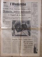 Journal L'Humanité (6 Juin 1972) Retraite à 60 Ans - Angela Davis Libre - A Montataire - Kranten