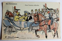 CPA Militaria Illustrateur Ernest Thélem Nos Cuirassiers Dans L'escorte Officielle Cheval Cavalier - Humour