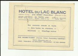 68 - Haut Rhin - Orbey - Hotel Du Lac Blanc - Avis De Passage- Prop.Albert Freppel - - Orbey