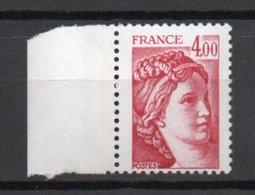 - FRANCE Variété N° 2127c ** - 4 F. Carmin Type Sabine 1981 - 1 BARRE PHO A GAUCHE + 2 A DROITE - Cote 55 EUR - - Errors & Oddities