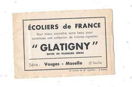 Carnet Vignettes Ecoliers De France, GLATIGNY, Série VOSGES - MOSELLE, - Erinnophilie