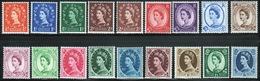 GB Queen Elizabeth 1955 Complete Set Of Wildings With St Edward's Crown Watermark. - Unused Stamps