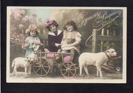 Fête Voeux  / Joyeuses,Heureuses Pâques / Enfants,oeufs,agneaux,chariot - Pâques