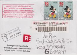 Portugal 2018. 90 Jahre Mickey Mouse. Bedarfsbrief 2x-,91€ Auf R-Brief - Disney
