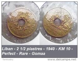 Liban - 2 1/2 Piastres - 1940 - KM 10 - Perfect - Rare - Gomaa - Lebanon