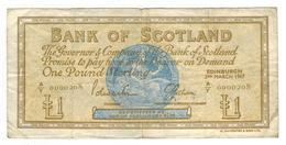 1967 Issue Bank Of Scotland 1 Pound Note - F - KM# 105b - Fine - 1 Pound