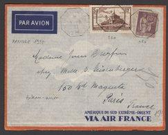 RR : Enveloppe Par Avion Origine MANILLE Avec 5Fr Mt St Michel + 65c Paix Oblt CàD Type 04 MARSELLE A KOBE > PARIS - Marcophilie (Lettres)