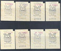 Palindromos. Capicuas. 8 Bilhetes Do Metro De Lisboa Anos 80. Lisbon Metro Tickets. Lissabon Metro Tickets.Billets Metro - Europe