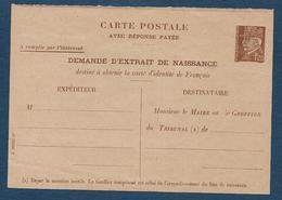Entier 1,20 Fr  Pétain Demande Extrait De Naissance - Cartes Postales Types Et TSC (avant 1995)