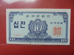 COREE(SUD) 10 JEON 1962 PEU CIRCULER/NEUF - Korea, Zuid