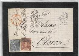 1876.- CARTA DE ZARAGOZA A OLORON (FRANCIA). ED. Nº 177 Y 183. FECHADOR DE FRONTERA. RARO. - Cartas