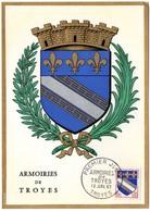 HERALDIQUE = 10 TROYES 1963 = CARTE MAXIMUM + CACHET PREMIER JOUR N° 1353 ARMOIRIES - Maximum Cards