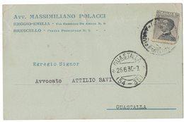 AN143   Regno 1930 Cartolina Avv.Massimiliano Polacci  Da Brescello Per Guastalla - Marcophilie