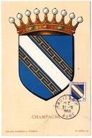 HERALDIQUE = 10 TROYES 1953 = CARTE MAXIMUM  N° 953 ARMOIRIES De CHAMPAGNE - 1960-69