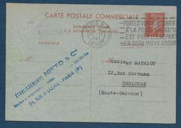 Entier 80 C  Pétain   Correspondance Commerciale - Cartes Postales Types Et TSC (avant 1995)