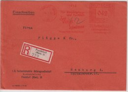 "DR - 42 Pfg. AFS ""Agfa Viskose Schwämme"", Einschreibebrief Frankfurt A.M. 1932 - - Marcofilia - EMA ( Maquina De Huellas A Franquear)"
