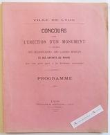 Ville De LYON 1882 Concours > érection D'un Monument En L'honneur Des Légionnaires & Gardes Mobiles Plan Parc Tête D'or - Architecture