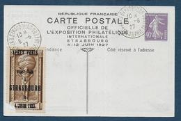Entier  40c Semeuse Expositon Philatélique STRASBOURG - Postwaardestukken