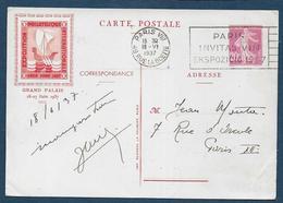 Entier  20c Semeuse  Exposition PEXIP 1937 - Cartes Postales Types Et TSC (avant 1995)