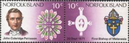 1971 NORFOLK ISLAND  Death Centenary Of Bishop Patteson , Se-tenant Pair 10c  X 2 Stamps ( Michel Cat . No 126-127  ) - Ile Norfolk