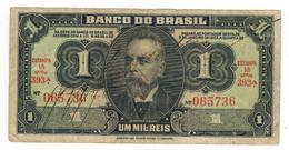 Brazil 1 Mil Reis 1940s. F/VF. - Brazil