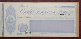 Carnet De 10 Chèques Du Crédit Foncier De France . 5 Chèques Utilisés De 1899 à 1905 . - Chèques & Chèques De Voyage