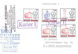 Stadt-Kurier  Quedlinburg 93 (3 X) 1,28 1,74 Auf Einschreiben Brief - [7] République Fédérale