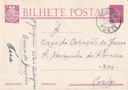 PORTUGAL 1952   ENTIER POSTAL/GANZSACHE/POSTAL STATIONERY CARTE AVEC CACHET FERROVIAIRE - Postwaardestukken