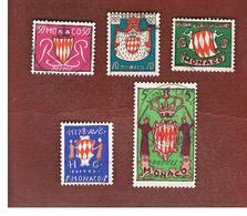 MONACO   -  SG 484.490   - 1954  COAT OF ARMS         -   USED - Monaco