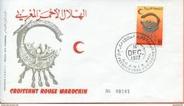 "Maroc ; FDC 1977 ; TP N°802 "" Croissant Rouge Marocain ""Morocco,Marruecos - Morocco (1956-...)"