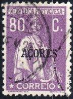AZZORRE, AZORES, ACORES, PORTUGUESE COLONY, CERES, 1921, 80 C., USATO Mi. 225,  Scott 216,  YT 213, Afi 208 - Azores