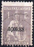 AZZORRE, AZORES, ACORES, PORTUGUESE COLONY, CERES, 1921, 1 E., USATO Mi. 189xC,  Scott 221,  YT 191(A), Afi 188(D12) - Azores