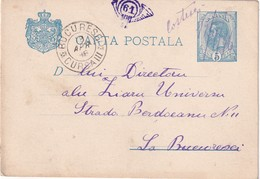 ROUMANIE 1896    ENTIER POSTAL/GANZSACHE/POSTAL STATIONERY CARTE  AVEC CACHET FERROVIAIRE/ZUGSTEMPEL - Ganzsachen