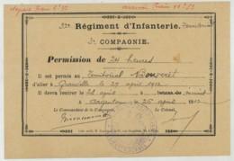 Argentan . 32e Régiment D'Infanterie Territoriale . Permission De 24h Pour Granville . 1912. - Documents