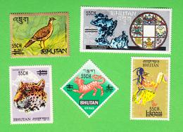 BHUTAN Surcharge Overprint 1971 55 Ch On 5 Stamps Scott 129 - 129D MNH Bhoutan - Bhoutan