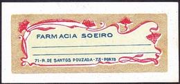 Old Label/ Ancienne  Etiquette - FARMÁCIA SOEIRO, Rua De Santos Pouzada, Porto // Pharmacy Produts -  Portugal - Perfume & Beauty
