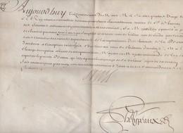 """Amboise (37 Indre Et Loire) PERMIS DE CHASSE 1699 Signé """"Louis"""" (14) Et """"Philypraux (PPP10628) - Documentos Antiguos"""