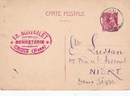 France 1939 Edouard Bonvarlet (Bonneterie) Croix To Niort 70c Prepaid Postcard Roubaix And Croix Nord Postmarks - Marcophilie (Lettres)