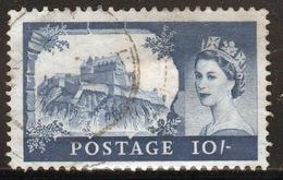 GB Queen Elizabeth 1959 Single Ten Shilling Castle Stamp With Multiple Crown Watermark Printed By Bradbury Wilkinson. - Used Stamps