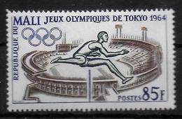 MALI   N° 66  * *  ( Cote 3e )  Jo 1964 Saut En Longueur Stade - Athlétisme