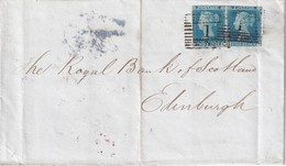 GRANDE-BRETAGNE 1849 LETTRE DE ABERDEEN POUR EDINBURGH  2 PEENNY BLEU NON DENTELE (SANS TEXTE) - 1840-1901 (Victoria)