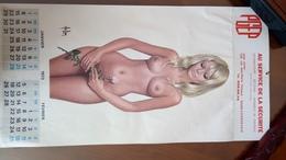 Grand Calendrier 6 Pages 1973 32 Cms Par 63 Cms Pin Up Nude Girls Aslan PGEP Courbevoie - Autres