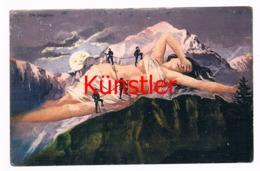 368 Jungfrau Bergsteiger Berggesicht Künstlerkarte - Other Illustrators