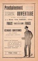 88 FRAIZE Place De La Gare Ouverture D'une Succurcale De La Maison Victor Maréchal  Vétements Tract Publicitaire De 1920 - Pubblicitari