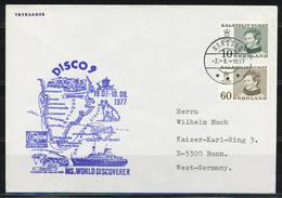 """Grönland, Schiffspost """"MS World Discoverer""""; MiNr. 84y - 85y; Gest. Narssaq Am 02.08.1977; B-1100 - Storia Postale"""